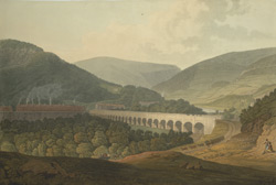 View of a stone bridge across the valley and River Risca in Monmouthshire